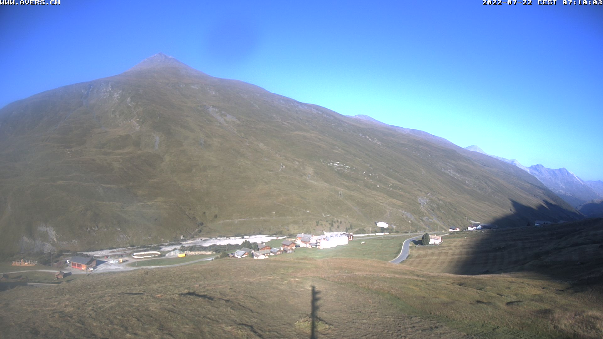 Grossansicht 07h - Avers Skilift Cavetta mit Sicht in die Bregalga.