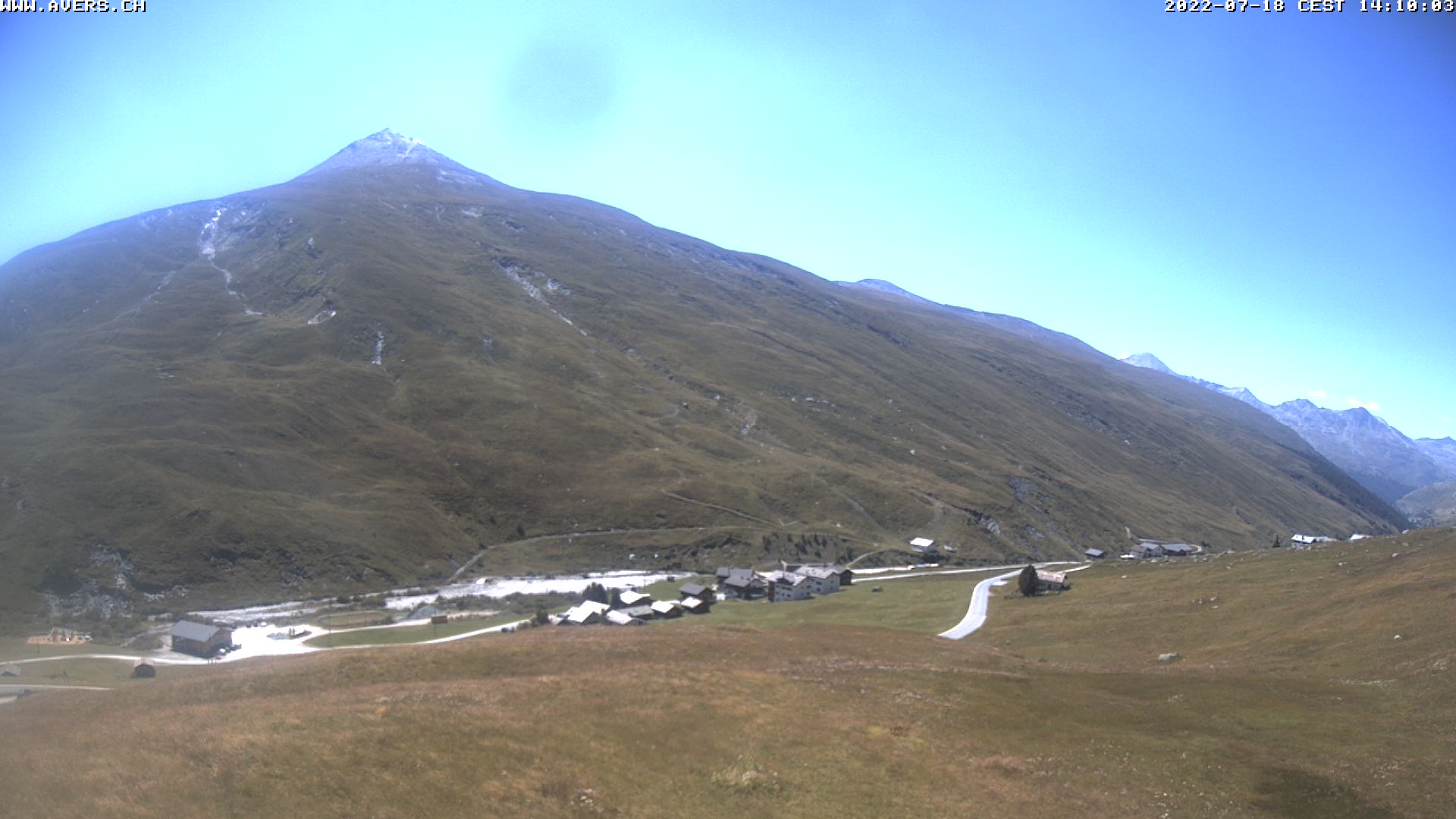 Grossansicht 14h - Avers Skilift Cavetta mit Sicht in die Bregalga.
